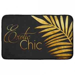 Tapis velours (80 cm) Gold Leaf Noir et or