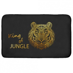 Tapis velours (80 cm) King of jungle Noir et or