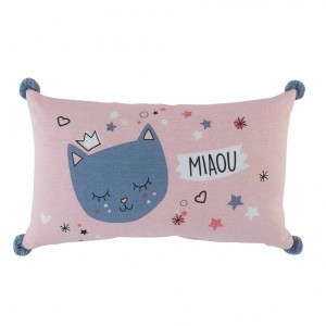 Coussin rectangulaire Mimi chat Rose