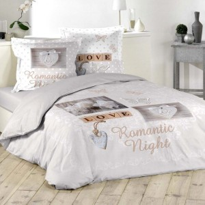 Copripiumino e due federe quadrate cotone (240 cm) Romantic Night Tortora