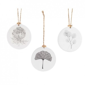 Lot de 3 suspensions Feuille Blanc