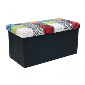 Pouf pliant double Patchwork Multicolore