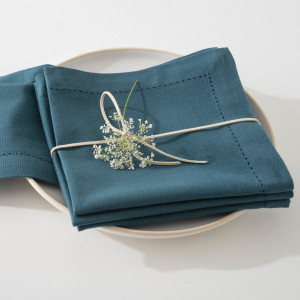 Lot de 4 serviettes Chambray Bleu canard