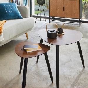 Lot de 2 tables d'appoint Mileo Marron