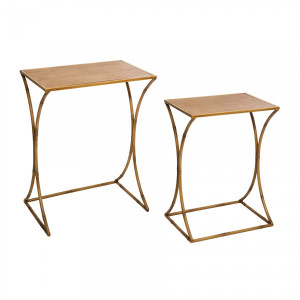 Lot de 2 tables d'appoint Asco Effet rotin