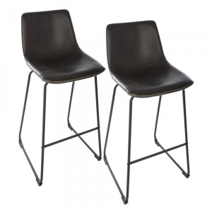 Lot de 2 tabourets de bar Lois Noir