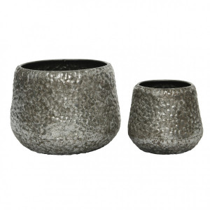 Lot de 2 cache-pots Relief Gris