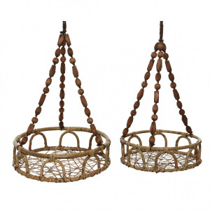 Lot de 2 Porte-plantes Swing Marron