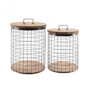 Lot de 2 paniers de rangement Mani Naturel
