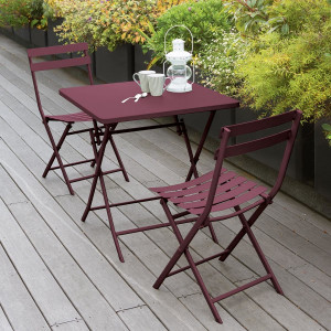 Table de jardin pliante carrée Métal Greensboro (70 x 70 cm) - Bordeaux