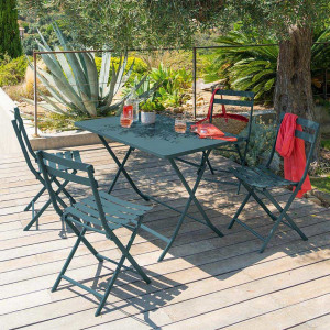Table de jardin rectangulaire pliante Métal Greensboro (110 x 70 cm) - Bleu canard