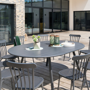 Table de jardin extensible ovale Aluminium Ellipsa - Gris graphite
