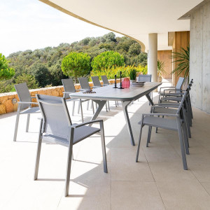 Table de jardin extensible Aluminium Pulpy (299 x 100 cm) - Gris