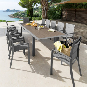Table de jardin extensible Aluminium Allure (254 x 115 cm) - Gris graphite