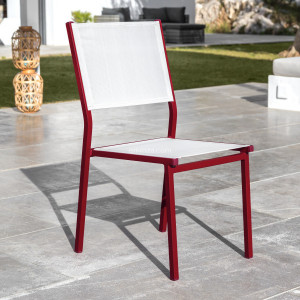 Chaise de jardin alu empilable Murano - Rouge/Blanche