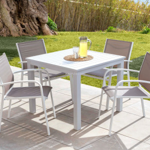 Table de jardin 4 places Aluminium Murano (89 x 89 cm) - Blanche