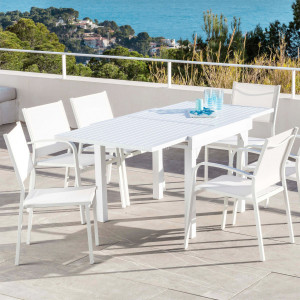 Table de jardin extensible 8 places Aluminium Murano (180 x 90 cm) - Blanche