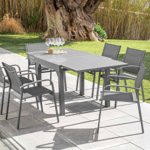 Table de jardin extensible 8 places Aluminium Murano (180 x 90 cm) - Gris ardoise