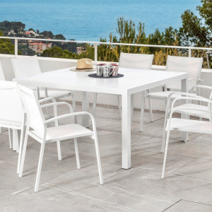 Table de jardin 8 places Aluminium Murano (136 x 136 cm) - Blanche