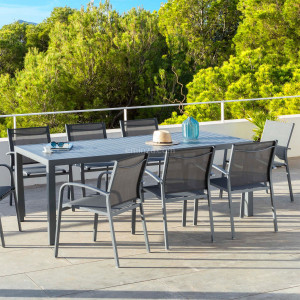 Table de jardin 8 places Aluminium Murano (210 x 100 cm) - Gris ardoise