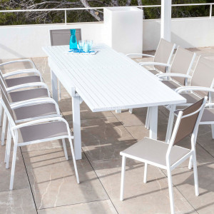 Table de jardin extensible 10 places Aluminium Murano (270 x 90 cm) - Blanche
