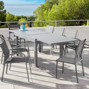 Table de jardin extensible 12 places Aluminium Murano (320 x 100 cm) - Gris ardoise