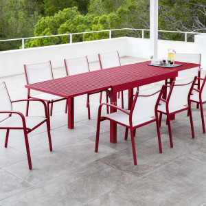 Table de jardin extensible 12 places Aluminium Murano (320 x 100 cm) - Rouge