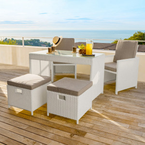 Salon pour balcon encastrable Menorca Blanc - 4 places
