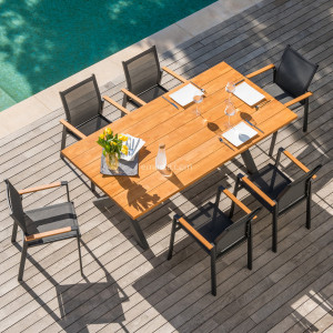 Table de jardin rectangulaire  Alu/Bois Ko Samui (200 x 100 cm) - Gris anthracite