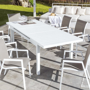 Table de jardin extensible 10 places Aluminium Corfu (245 x 100 cm) - Blanche