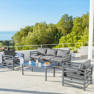 Salon de jardin Marbella Gris anthracite - 5 places