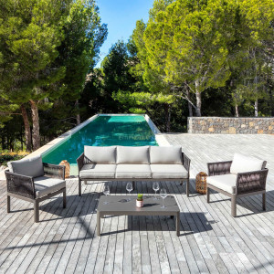 Salon de jardin Algarve Taupe - 5 places