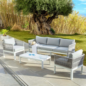 Salon de jardin Algarve Blanc/Gris clair - 5 places