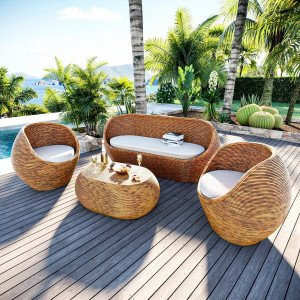 Salon de jardin en rotin Trinidad Naturel/Beige - 5 places
