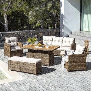 Salon de jardin Tivoli Up and down Naturel/Beige - 7 places