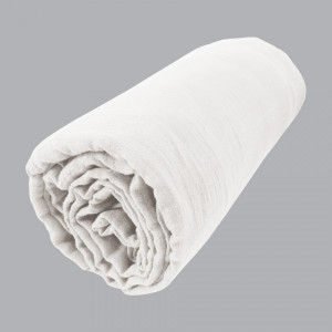 Drap housse gaze de coton (160 cm) Gaïa Blanc chantilly