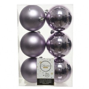 Lot de 6 boules de Noël (D80 mm) Alpine Lilas