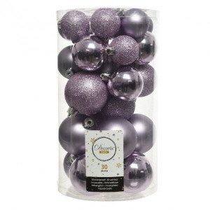 Lot de 30 boules de Noël assorties Alpine Lilas