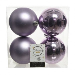 Lot de 4 boules de Noël (D100 mm) Alpine Lilas