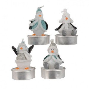 Lot de 4 bougies Pingouins Blanc