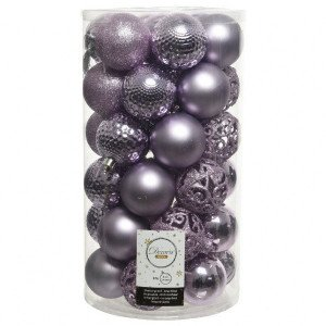 Lot de 37 boules de Noël (D60 mm) Alpine Mix Lilas