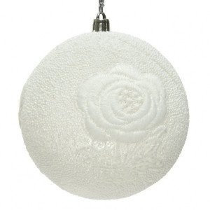 Lot de 12 boules de Noël (D100 mm) Dentellia Blanc