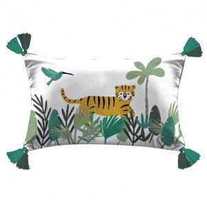 Coussin rectangulaire Animaux and co Blanc
