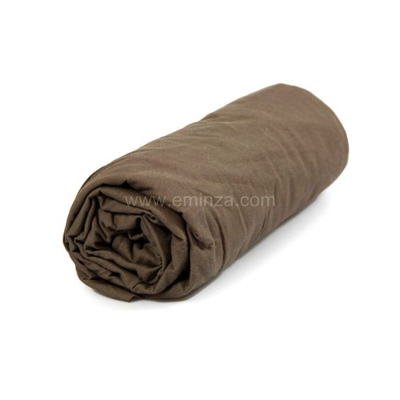 drap housse coton 140 cm uni noisette linge de lit eminza. Black Bedroom Furniture Sets. Home Design Ideas