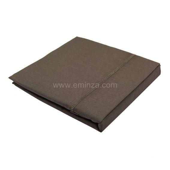 drap plat coton 240 cm uni noisette linge de lit eminza. Black Bedroom Furniture Sets. Home Design Ideas