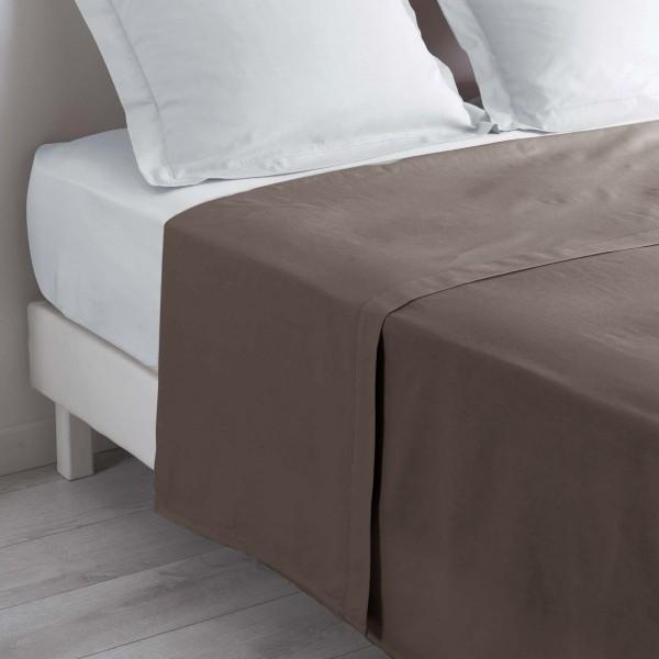 Drap plat coton (180 cm) Lina Noisette -