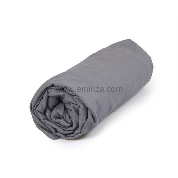 drap housse coton 140 cm uni gris souris drap housse eminza. Black Bedroom Furniture Sets. Home Design Ideas