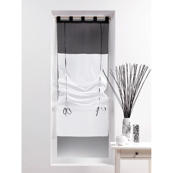 store voilage droit 60 cm voile bicolore blanc et noir. Black Bedroom Furniture Sets. Home Design Ideas