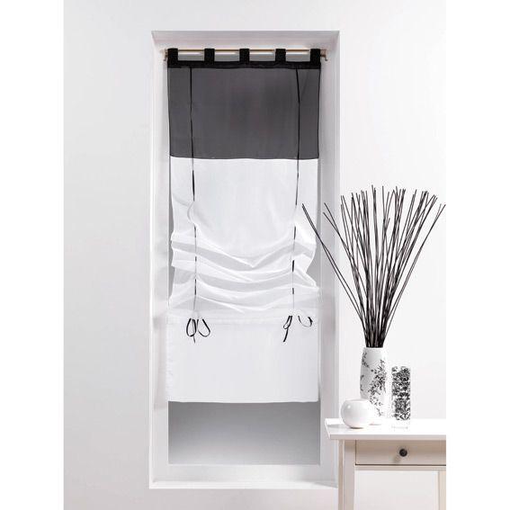 store voilage droit 45 cm bicolore noir eminza. Black Bedroom Furniture Sets. Home Design Ideas