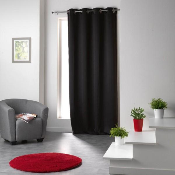 rideau occultant 140 x h260 cm cocoon noir rideau. Black Bedroom Furniture Sets. Home Design Ideas